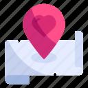 location, love, map, pin, place, romance, valentine