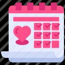 calendar, date, event, heart, love, schedule, valentine day icon