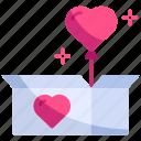 balloon, box, gift, love, open, unboxing, valentine