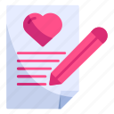 letter, love, mail, pencil, romance, valentine, writing