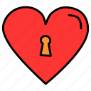 heart, keyhole, lock, love, romance, valentines