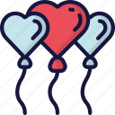 balloons, february, heart, in love, love, valentines icon
