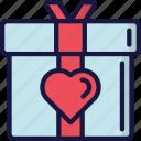 february, gift, love, present, valentines icon