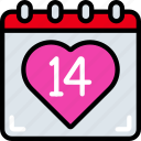 calendar, date, february, love, valentines icon