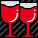 drinks, february, love, valentines, wine icon