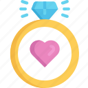 engagement, february, love, ring, valentines icon