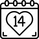 calendar, date, february, love, valentines icon