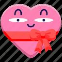 chocolate, chocolate box, gift, heart, ribbon, romance, valentines