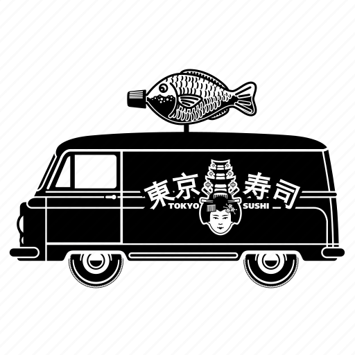 delivery, fish, japan, sushi, transport, truck, van icon