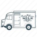 citroën, delivery, milk, transportation, truck, vehicle icon