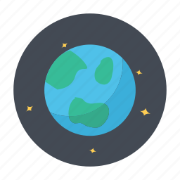 earth, globe, night, planet, space icon