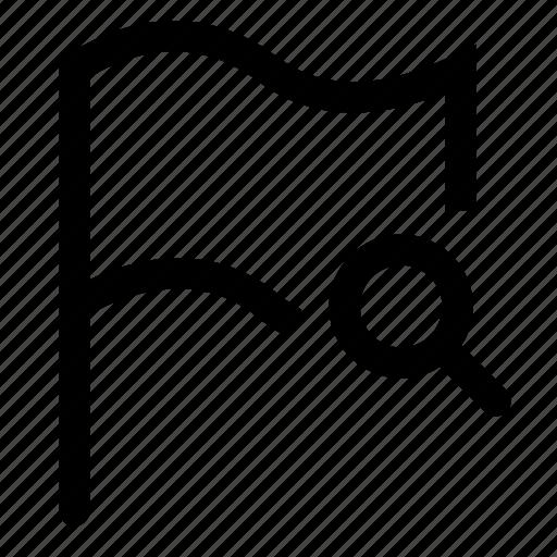 flag, mark, search icon
