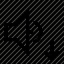 down, move, sound, speaker icon