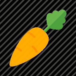 carrot, colour, food, garden, green, orange, vegetable icon