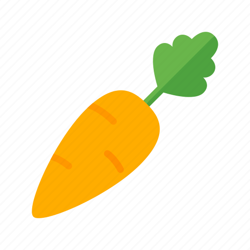 carrot, colour, food, garden, green, orange, vegetable icon