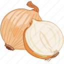 brown, cooking, onion, vegetable, veggie icon
