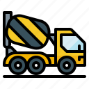 concrete, construction, mixer, truck, vehicle icon
