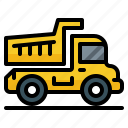 construcktion, dump, transportation, truck, vehicle icon