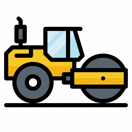 construction, roller, steamroller, truck, vehicle icon