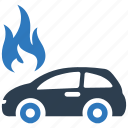 auto insurance, car insurance, fire insurance, flame, vehicle icon