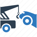 car, lifting, tow, tow truck, vehicle icon