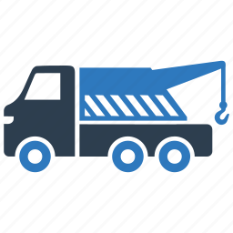 tow, tow truck, traffic, truck, truck crane icon