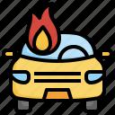 burning, car, accident, flame, transportation