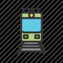 line, railroad, railway, steel, track, train, travel icon
