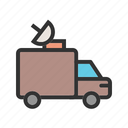 antenna, channel, news, satellite, television, van, vehicle icon
