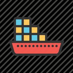 cargo, container, logistics, port, sea, ship, shipping icon