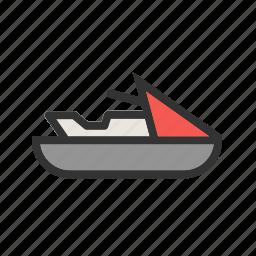 beach, jet, ski, speed, summer, water, wave icon