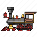 locomotive, rail, railroad, railway, steam, train, travel icon