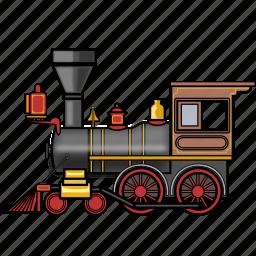 locomotive, rail, railroad, railway, steam, train, travel icon