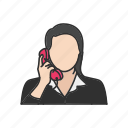 call, phone, talk, telephone, woman on phone icon