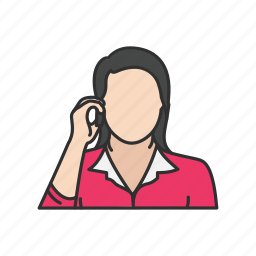 calling, phone, talk, telephone, woman talking on the phone icon