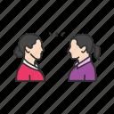 conversation, discussion, message, talking, women talking