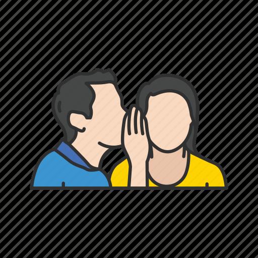 gossip, secret, telling a secret, whisper icon