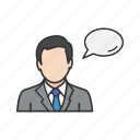 man speaking, speech bubble, talk, talking, words icon