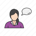 speech bubble, talk, talking, woman speaking icon