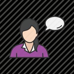 speech bubble, talk, talking, woman speaking icon