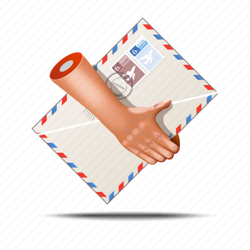 envelope, fingers, hands, post, postage stamp, postman icon