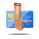 bank, card, credit, finger, hands, money, shopping icon