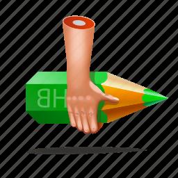 artist, designer, finger, hands, pencil icon