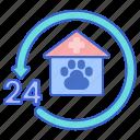 24 hours, 24 hours vet, vet, veterinarian, veterinary icon