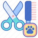 brush, grooming, hair cut, pet grooming, scissors icon
