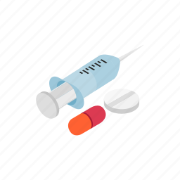 blog, health, injection, isometric, pill, syringe, vaccination icon
