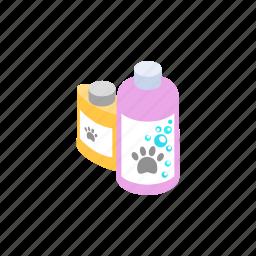 animal, blog, conditioner, isometric, pet, shampoo, soap icon