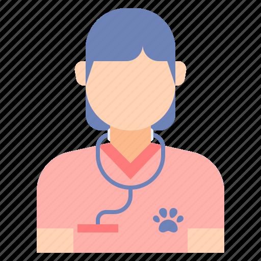 female, vet, woman icon