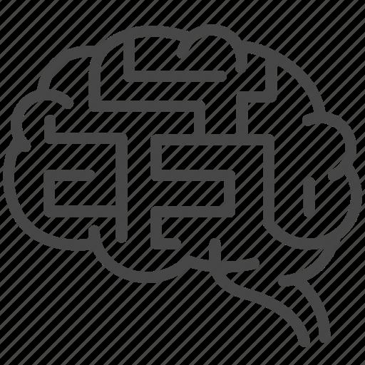 brain, depression, harassment, maze, mind, sufferer, victim icon