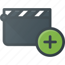 add, clapper, clip, cut, movie icon